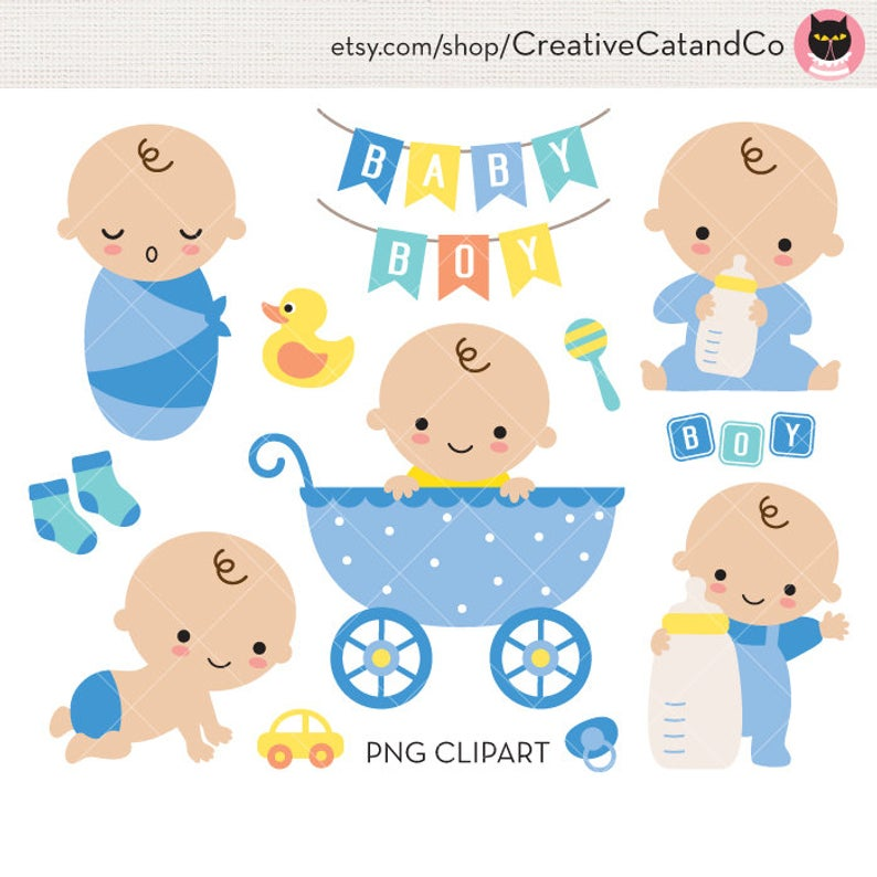 Baby Boy Shower Clipart Clip Art Cute Baby boy Birthday in Stroller with  Toy and Milk Bottle Invitation Sign Banner Clipart Clip Art.