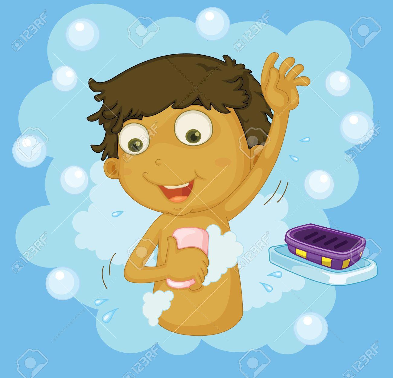 Illustration of a boy showering.
