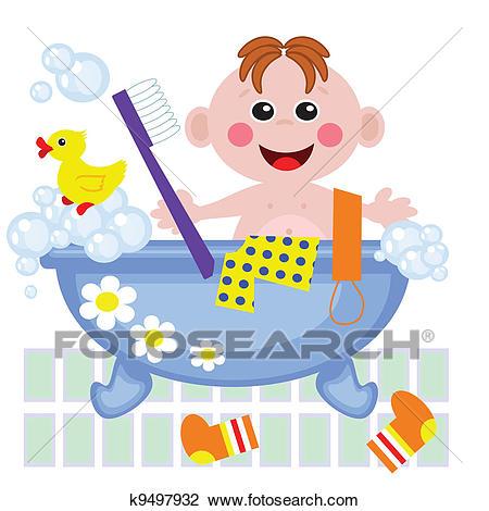 Boy showering in bath, vector. Clipart.