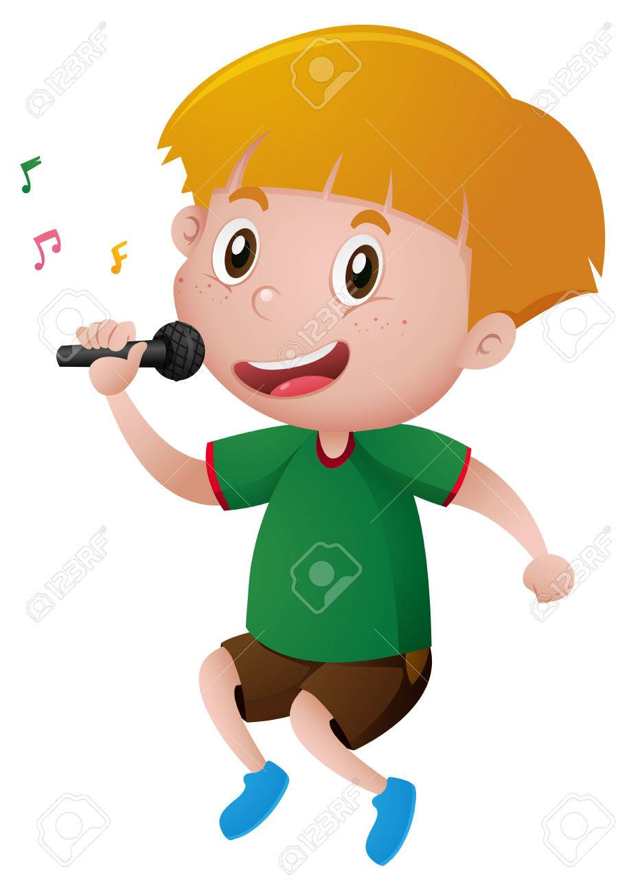 Little boy singing with microphone illustration.