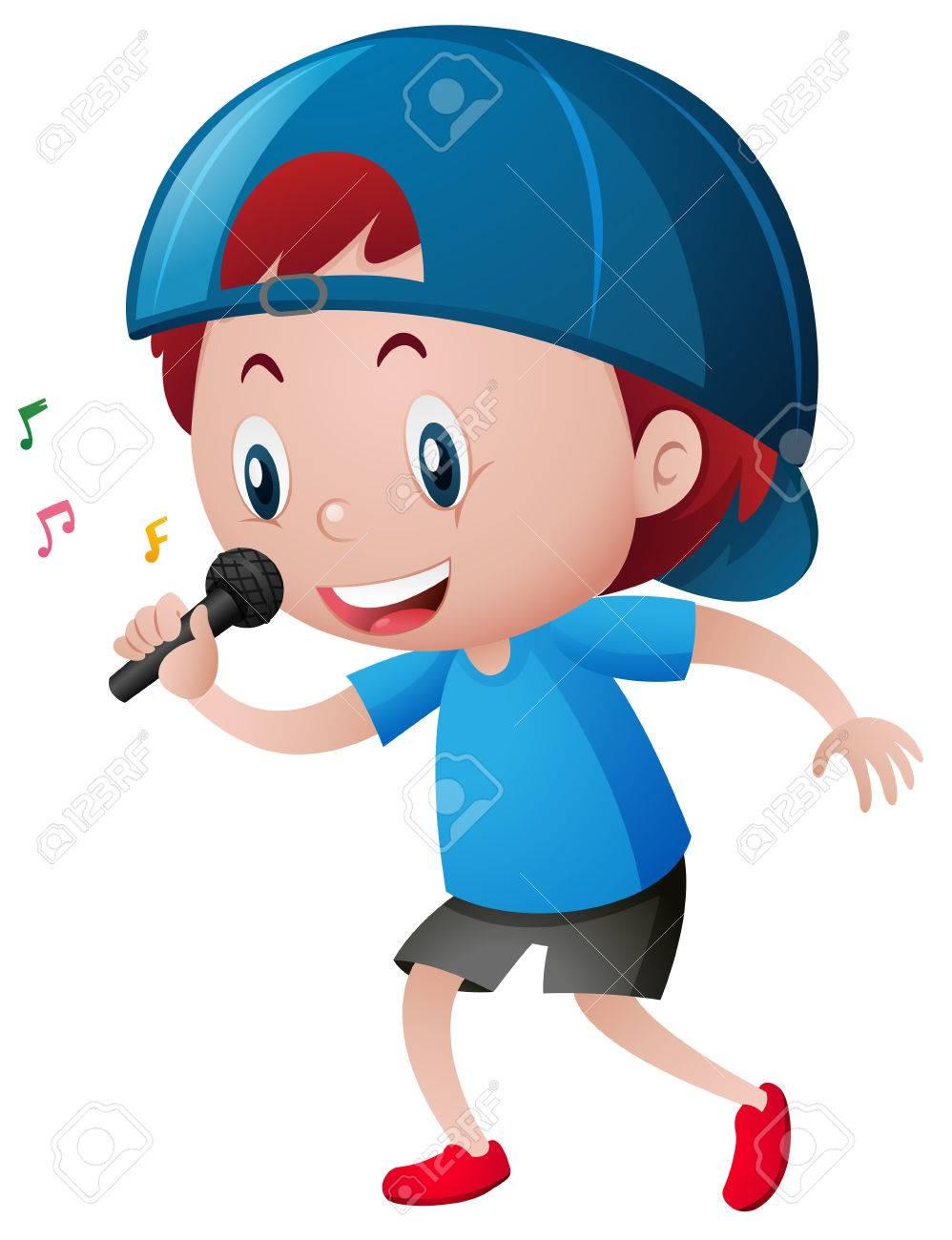 Little boy singing on microphone illustration.