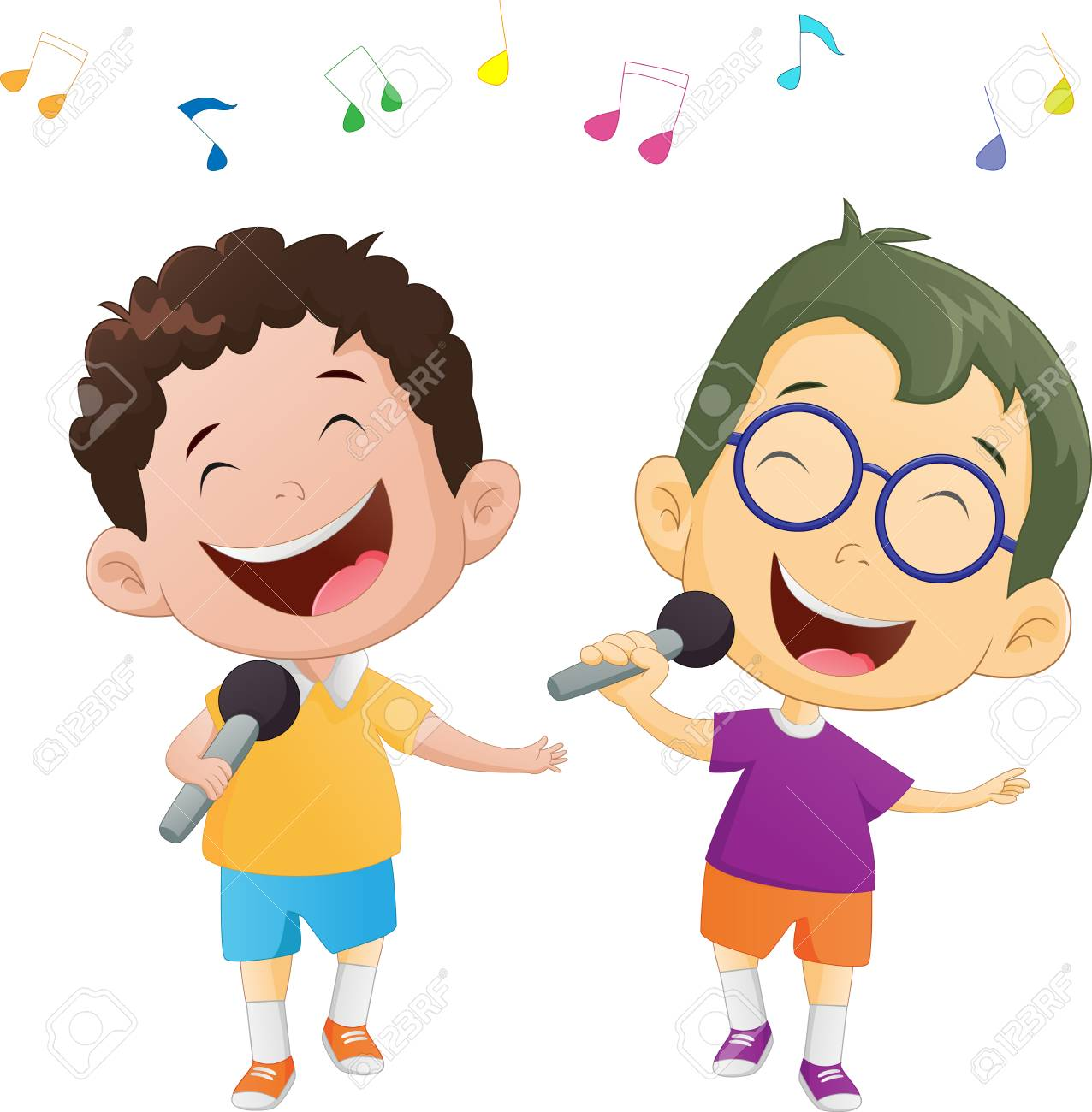 Illustration of happy singing boys.