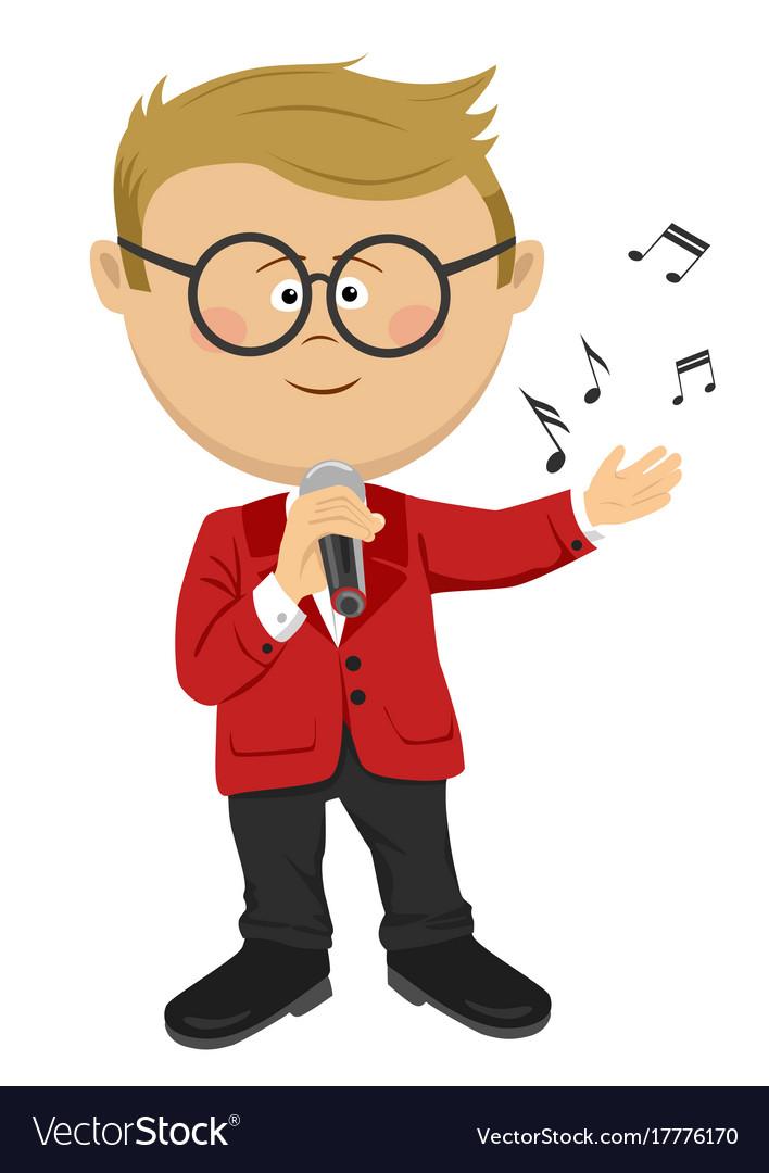 Cute nerd little boy sings with a microphone.