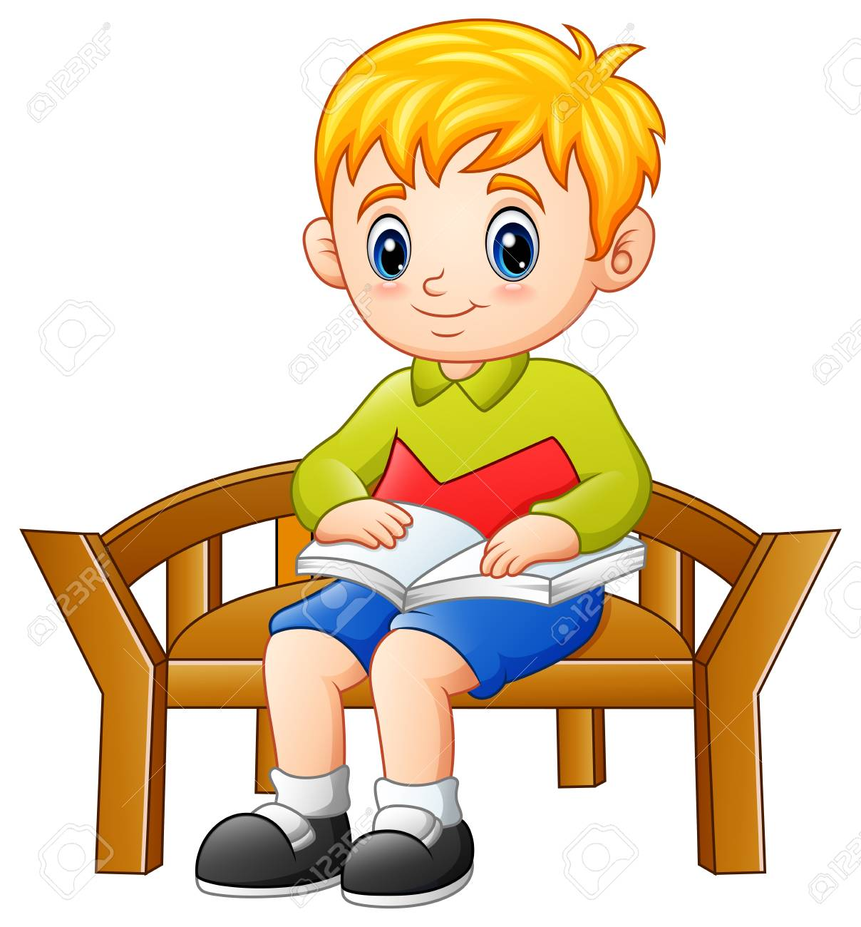 Vector illustration of Little boy sitting on a chair reading...