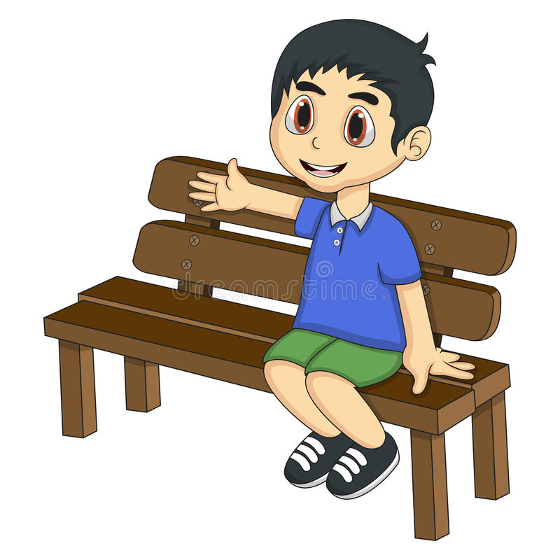 Boy Sitting Bench Stock Illustrations.