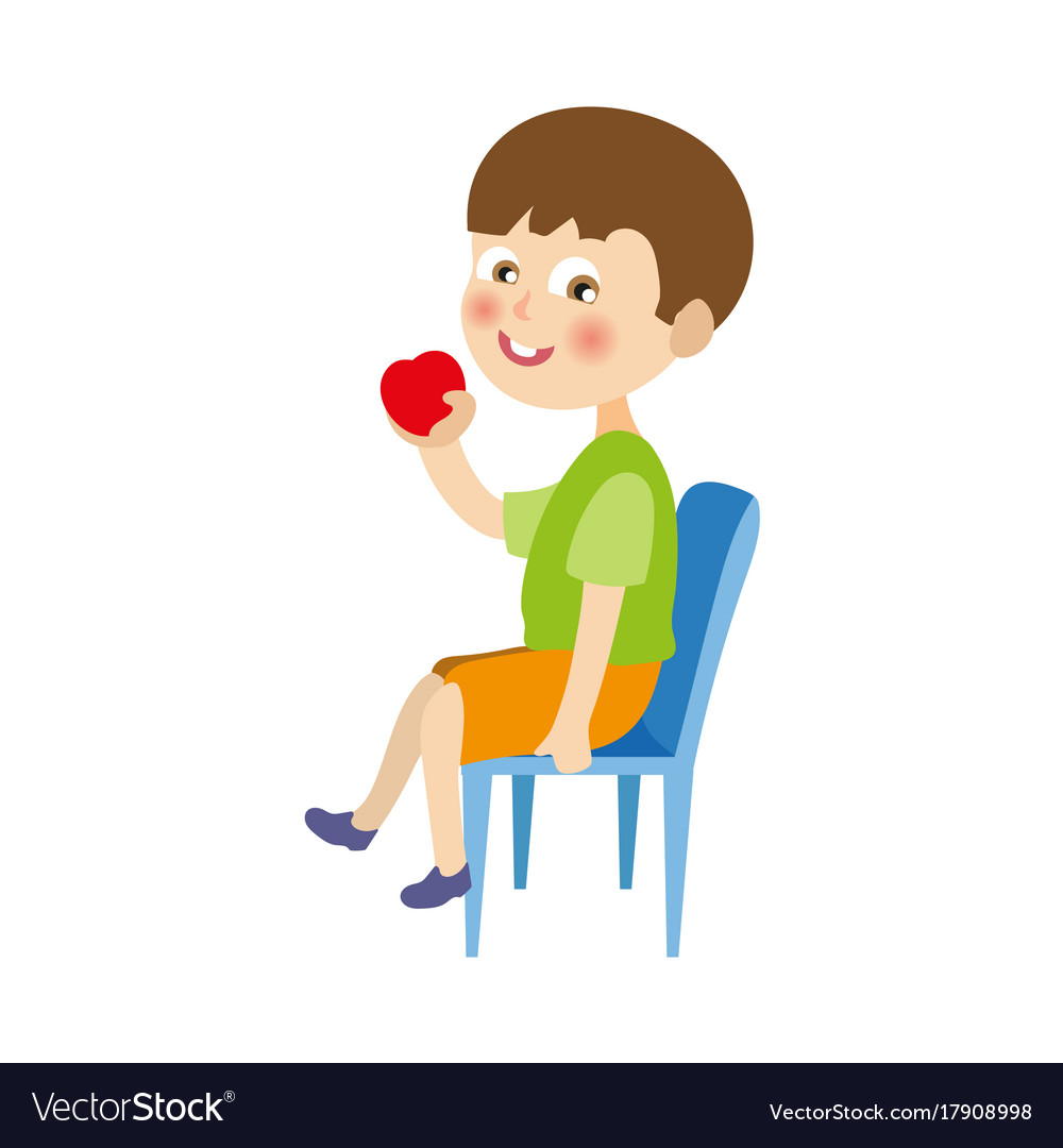 Flat boy sitting at chair eating apple.