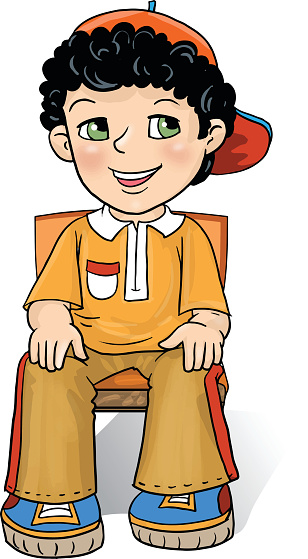 Boy sitting in a chair clipart.