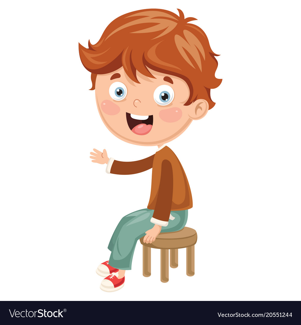 Kid sitting on chair.
