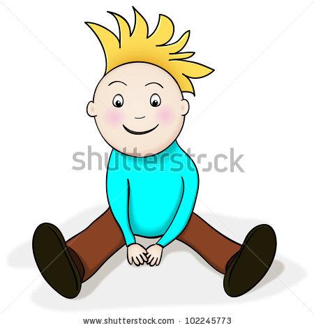 Drawing Happy Boy Cartoon Character Sitting Stock Illustration.