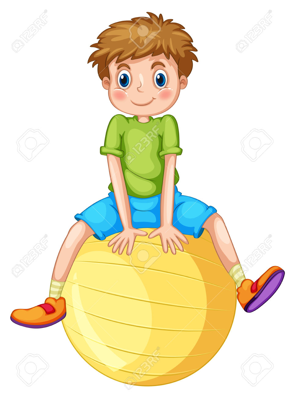 Free Clipart Of Boy Sitting On Excercise Ball.