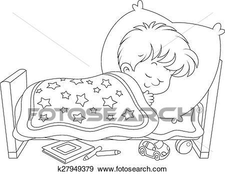 Boy sleeping Clip Art.