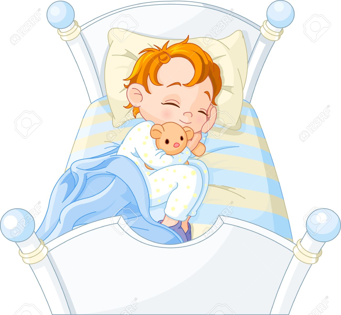 Cute little boy sleeping in his bed.