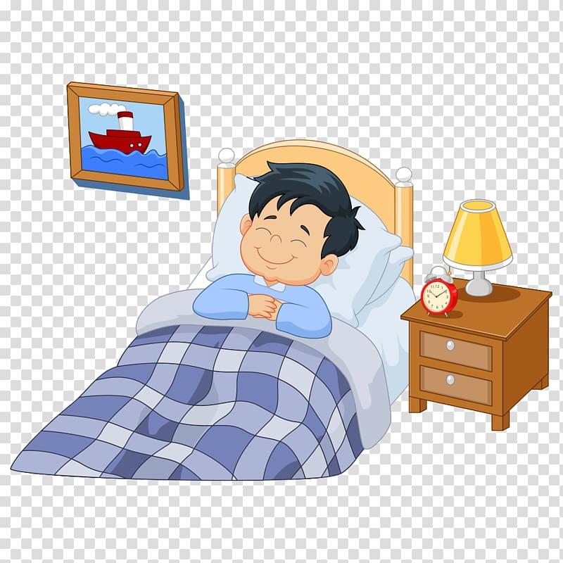 Boy sleeping on bed smiling artwork, A Girl Asleep Cartoon.