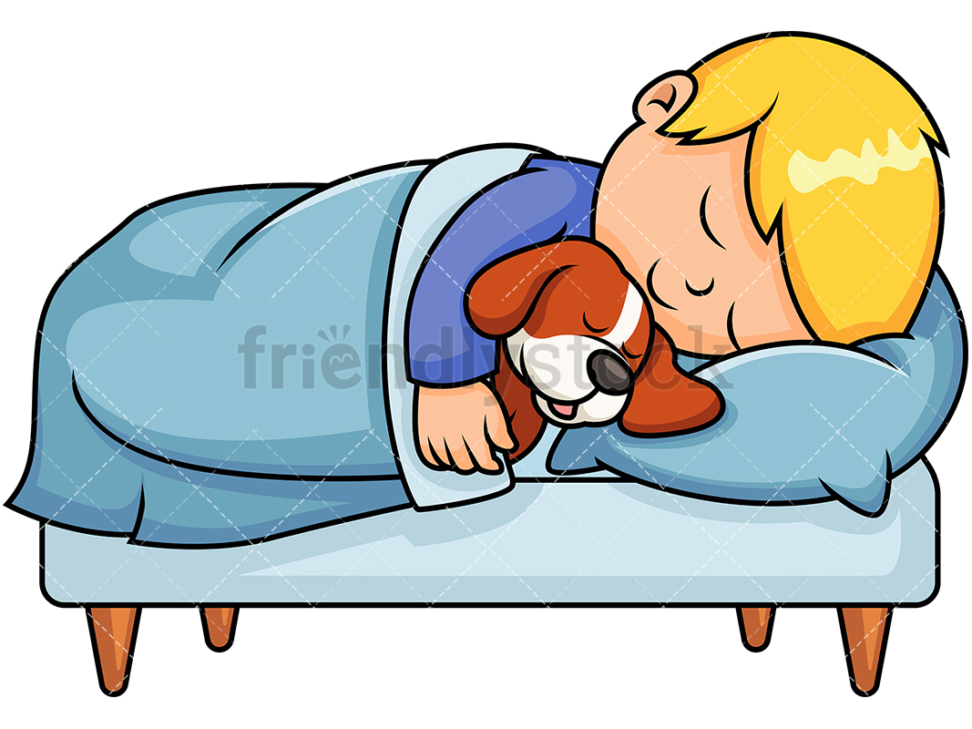 Little Boy Sleeping In Bed While Hugging His Pet Dog.