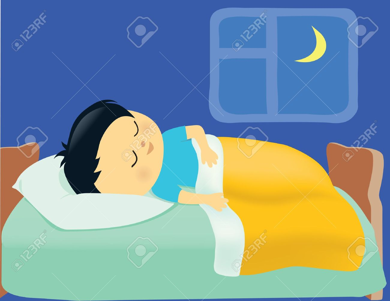 Clipart Boy Sleeping In Bed.