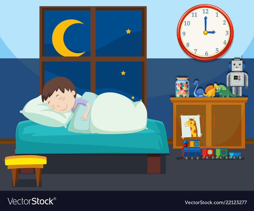 A boy sleeping in bedroom.