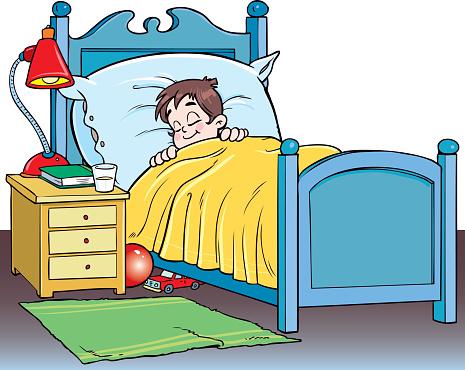 Boy Sleeping In Bed Clipart.