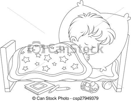 Little Boy Sleeping In Bed Clipart.