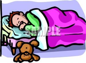 Sleeping Boy In Bed Clipart.
