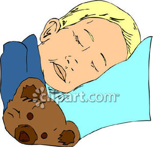 Little Boy Sleeping In Bed Clipart.