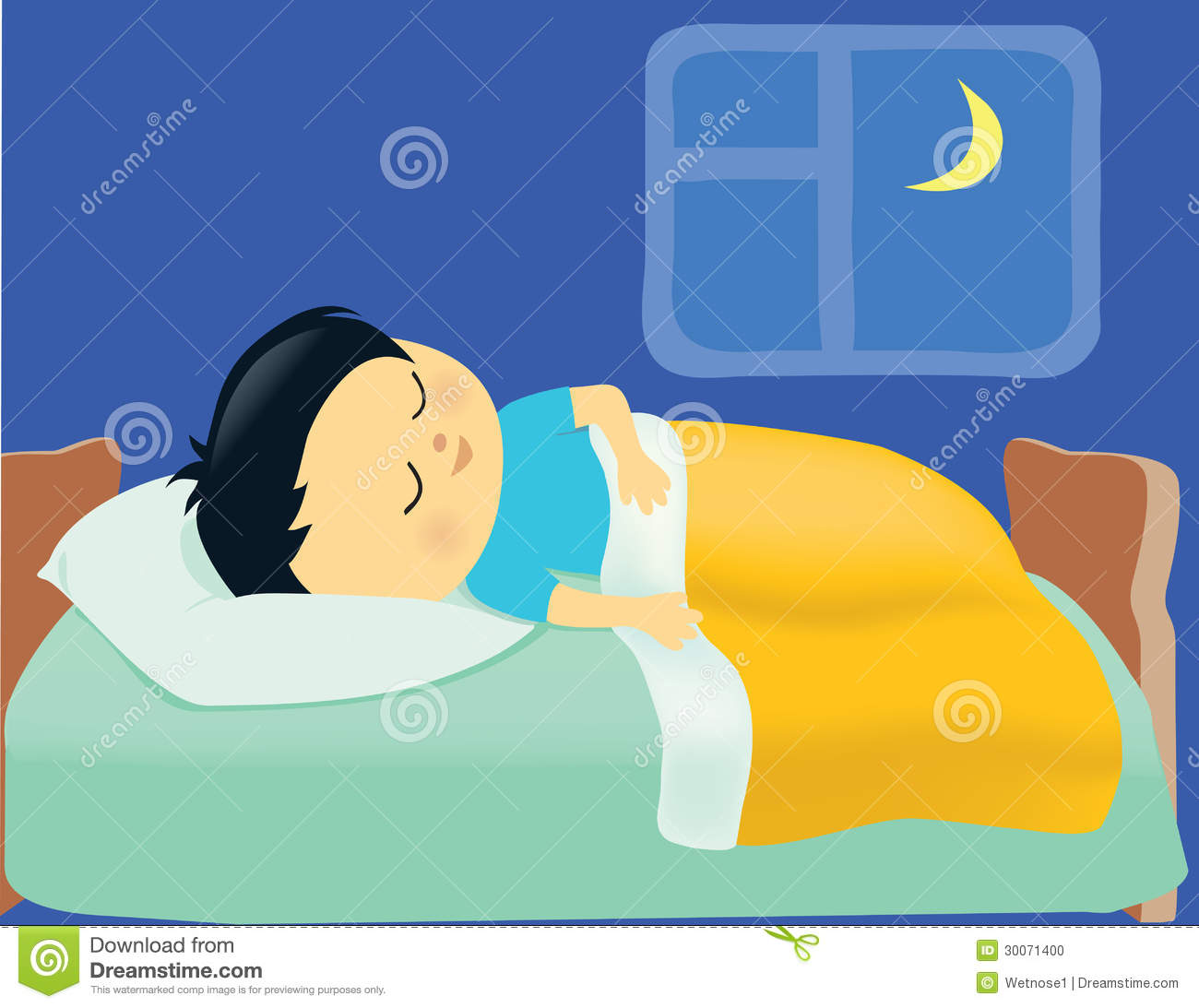Boy Sleeping In His Bed Clipart.