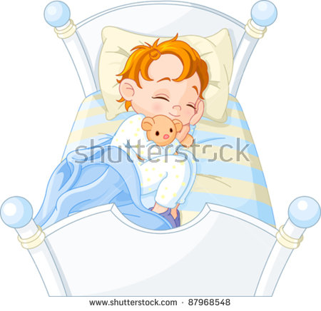 Cute Little Boy Sleeping In His Bed Stock Vector Illustration.