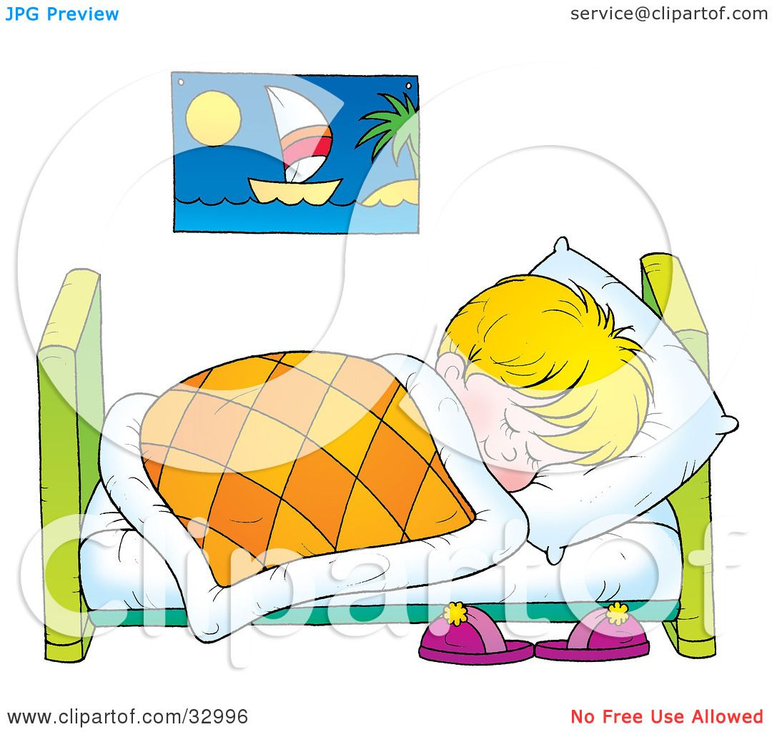 Boy Sleeping In His Bed Clipart Clipground