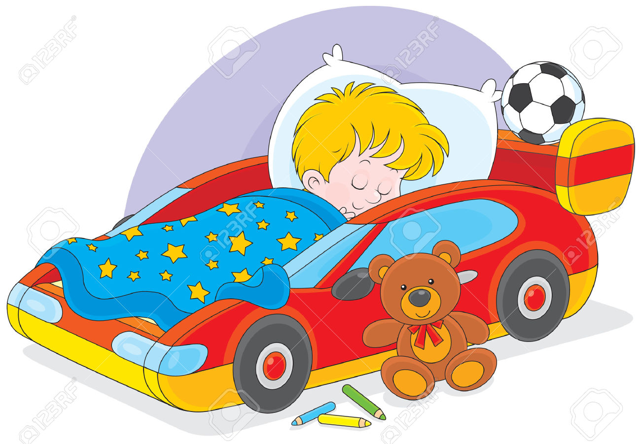 Little Boy Sleeps In His Bed Made As A Sport Car Royalty Free.