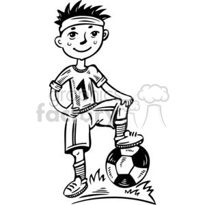 young boy soccer player clipart. Royalty.