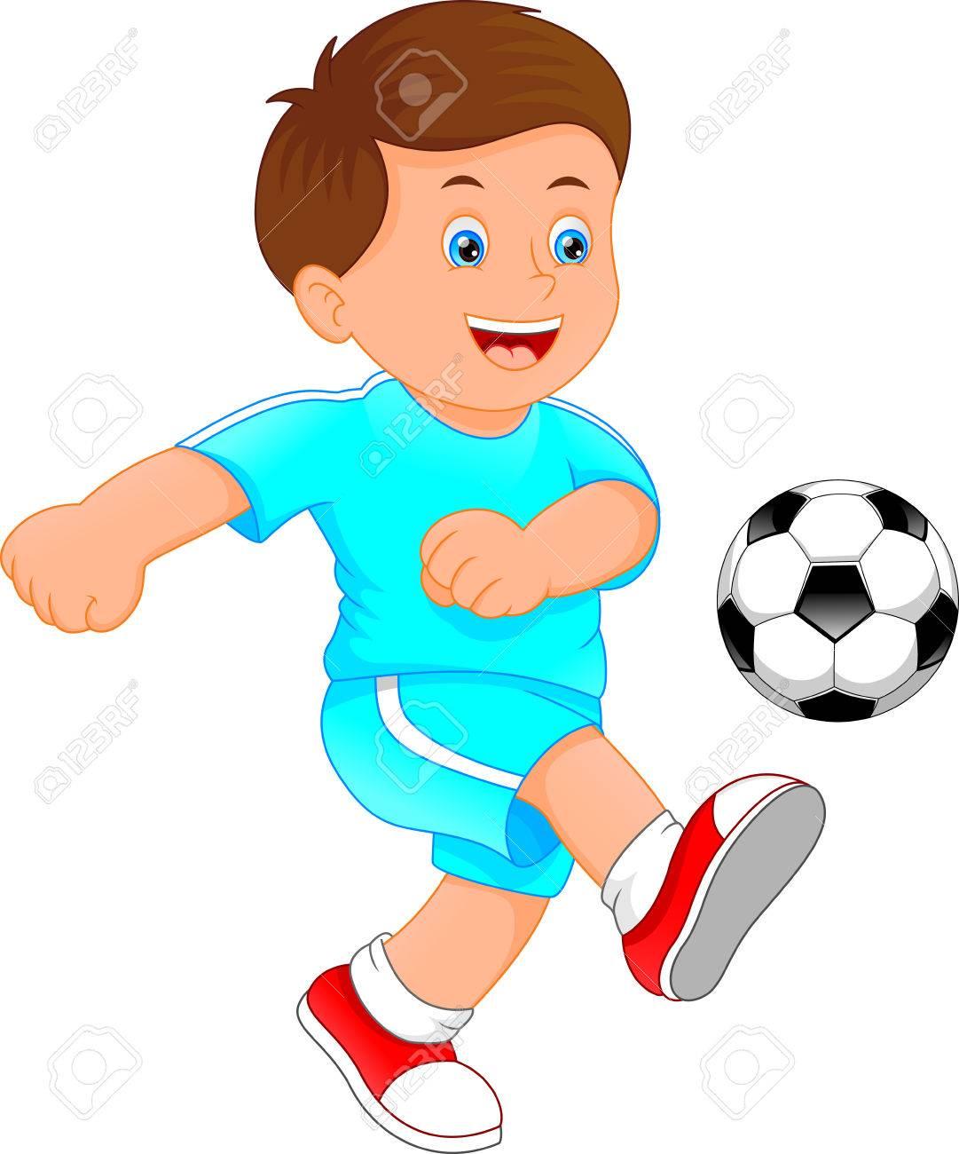 A cute little boy soccer player illustration..