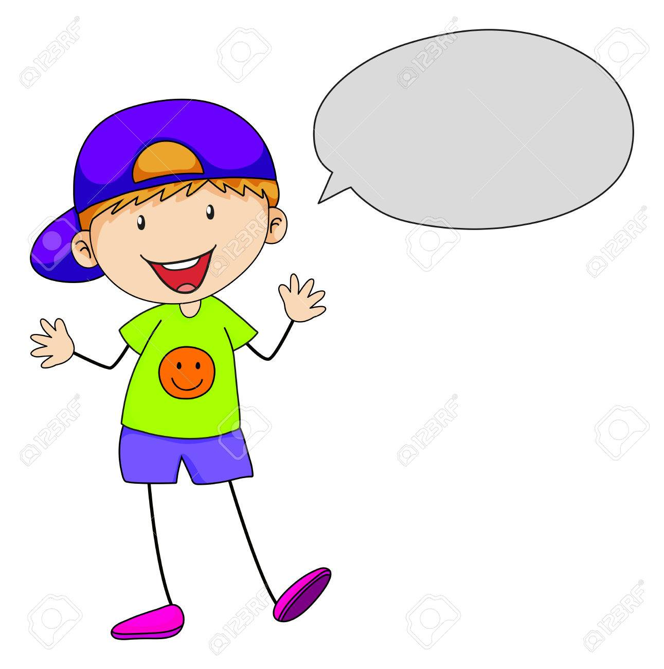 Boy speaking with speech bubble.