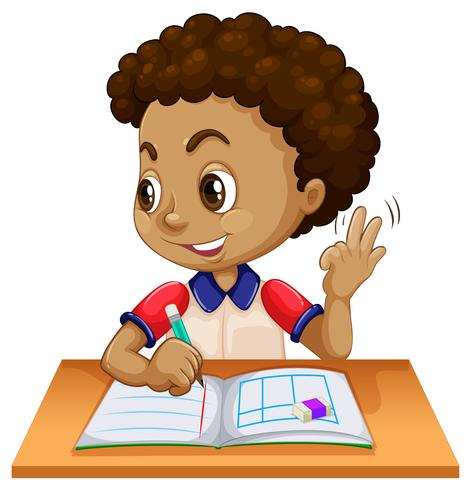 Young boy studying at desk.
