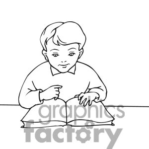 Clip art of Outline of a boy learning to read..