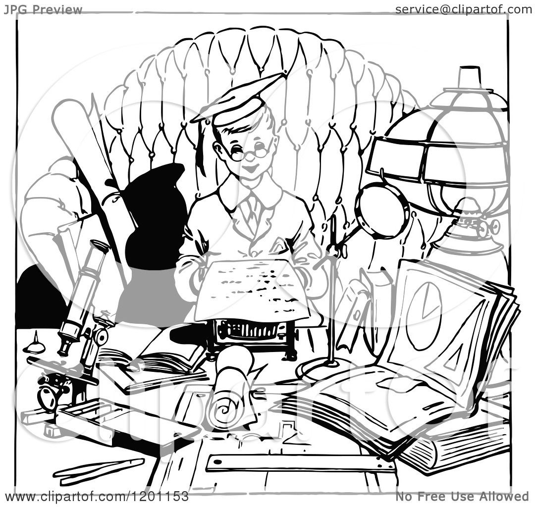 Clipart of a Vintage Black and White Smart Boy Studying.