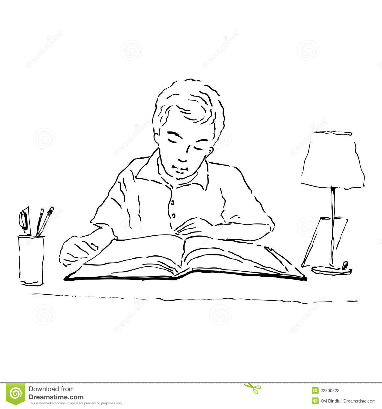 Boy Studying Clipart Black And White.