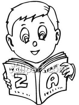 boy studying clipart black and white #14