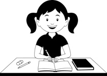 Free Black and White School Outline Clipart.