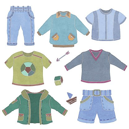 Watercolor children, little boy clothing, toys Clipart Image.