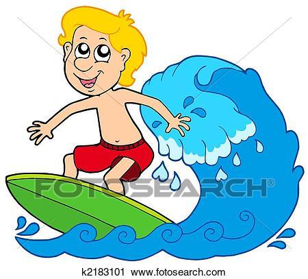 Cartoon surfer boy Clip Art.