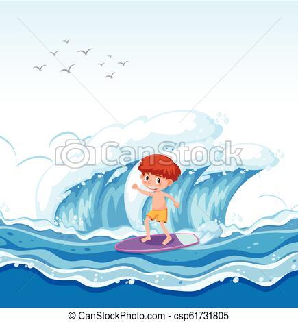 A boy surfing big wave.