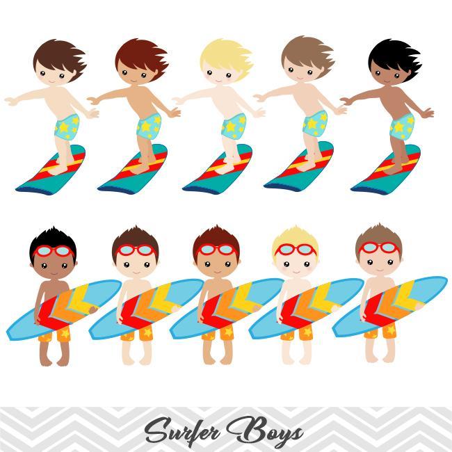 Surfing Boy Digital Clip Art, Summer Beach Party Clipart, Surfer Boy Clip  Art, 00165.