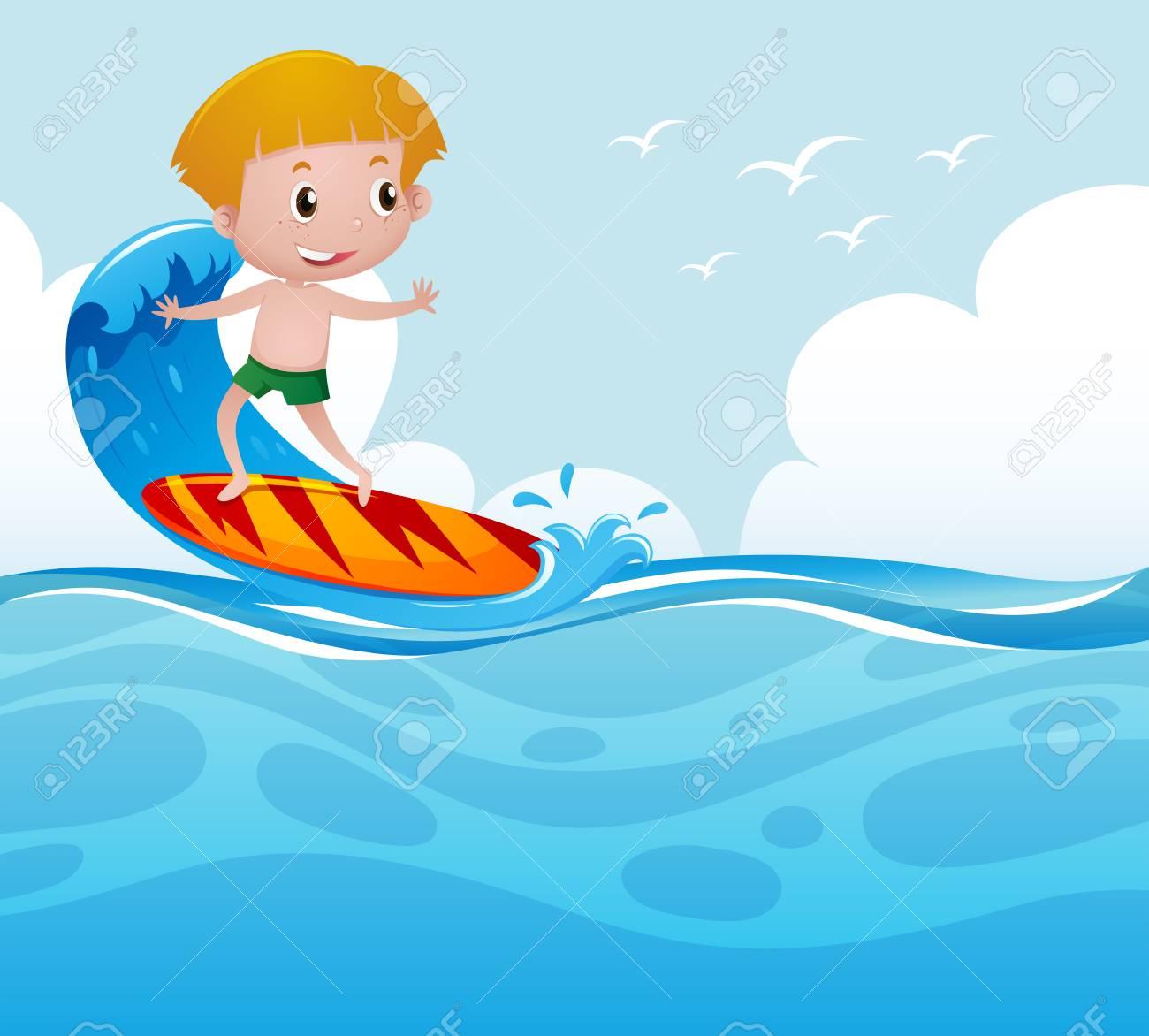 Boy surfing on the wave illustration.