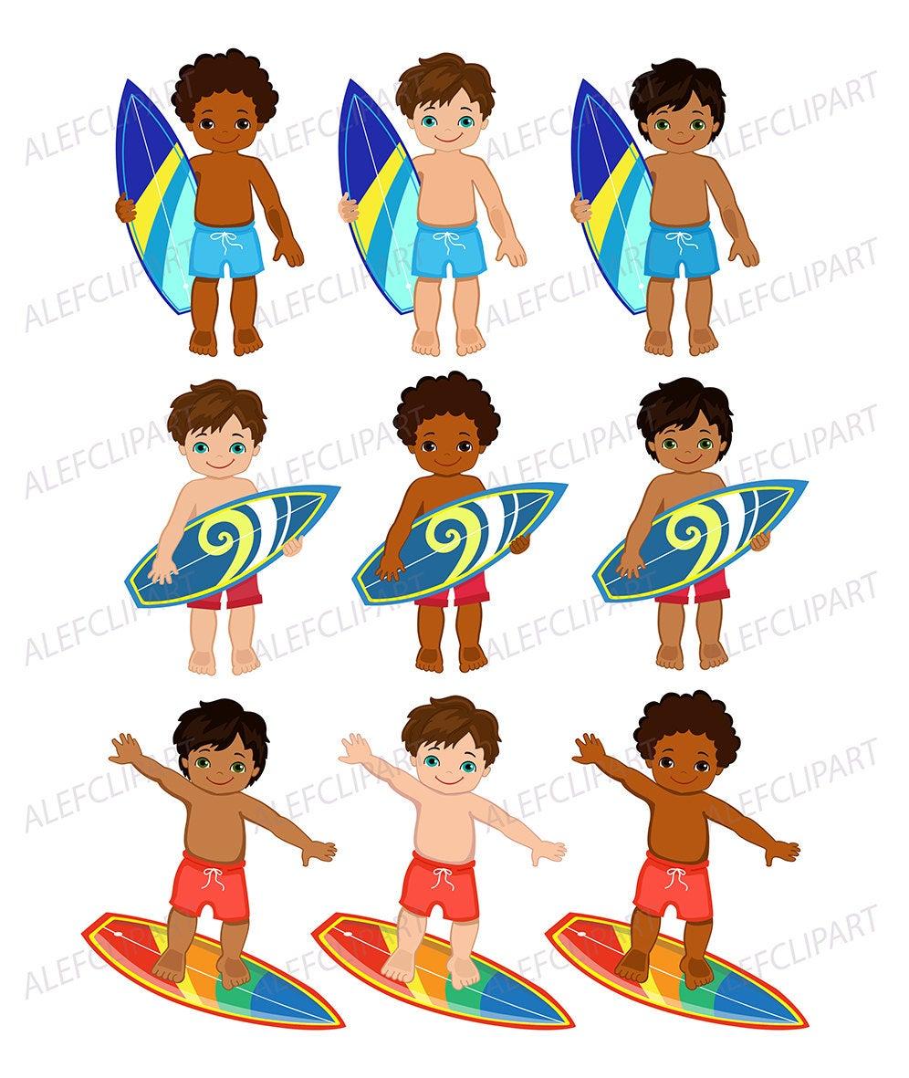 Surfer Boys , African American Surfer Boys Clipart.