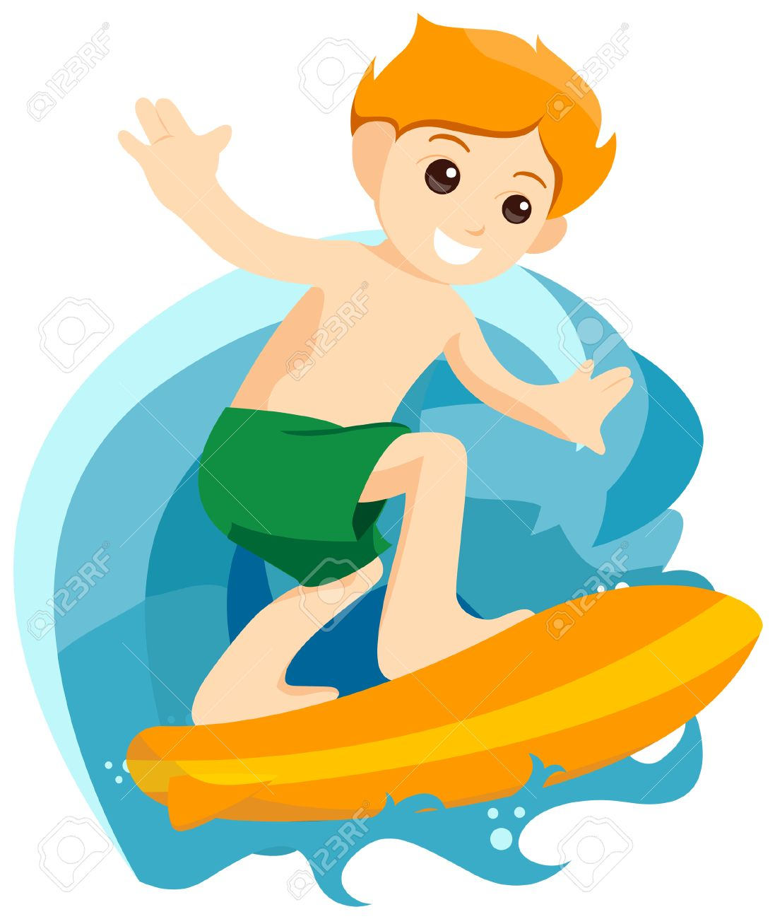 Boy Surfing with Clipping Path.