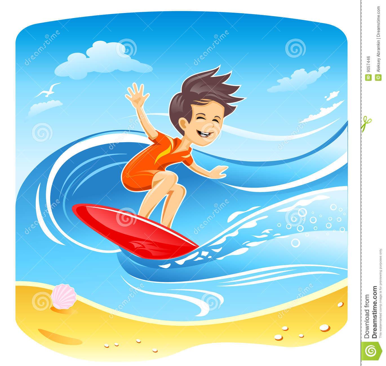 Boy Surfer Vector stock vector. Illustration of design.