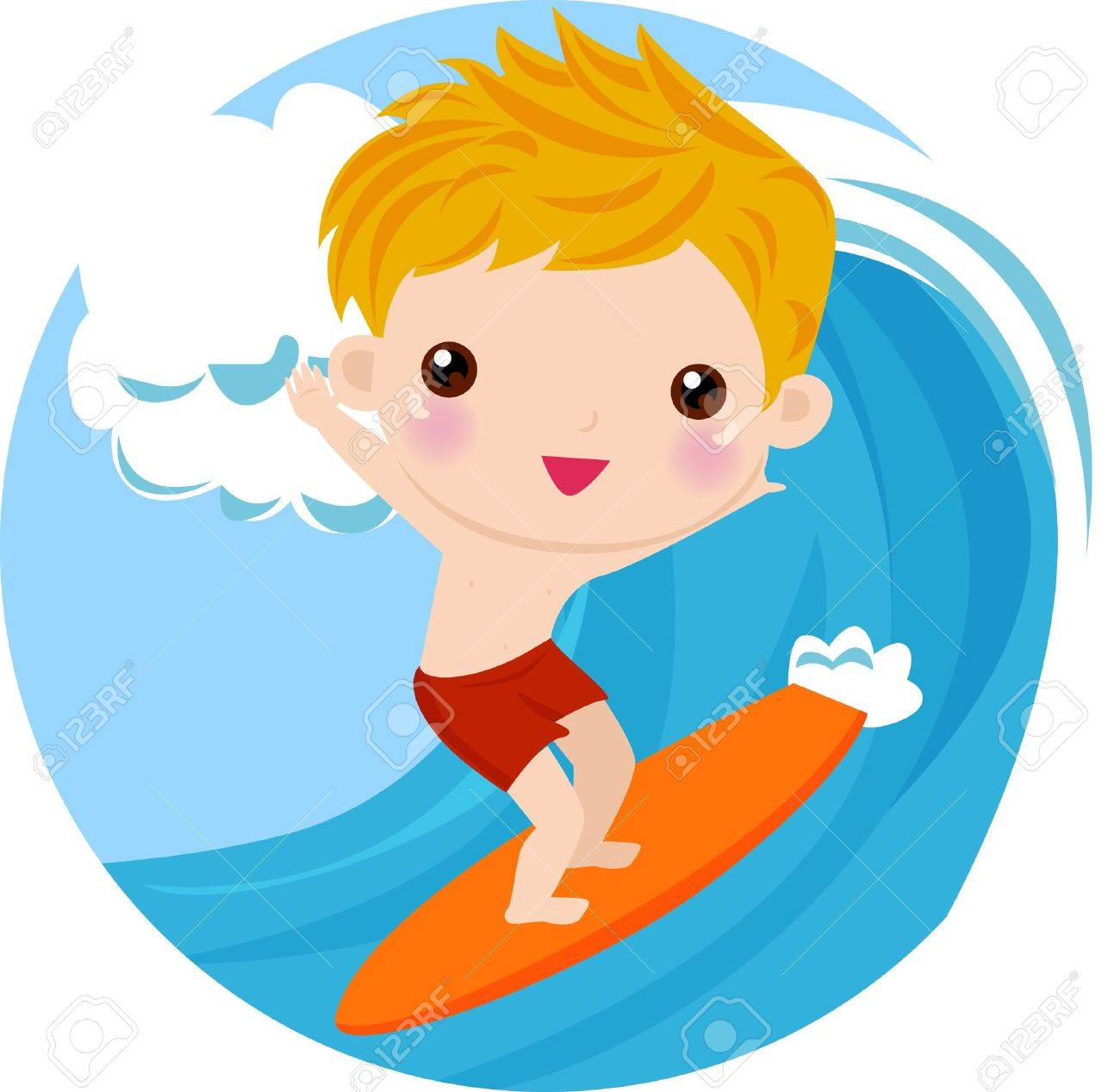 Boy Surfing.