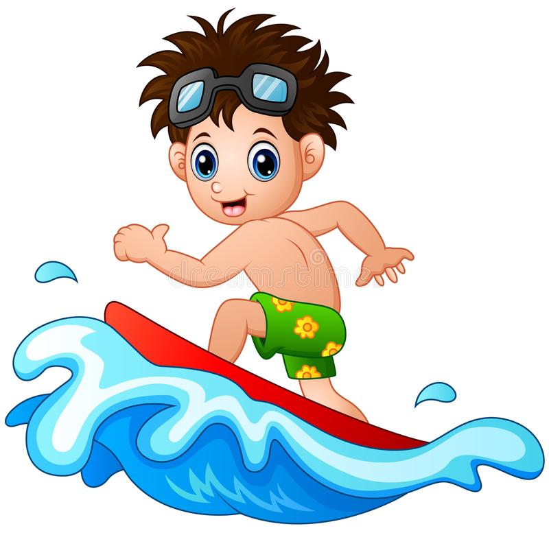 Boy Surfing Stock Illustrations.