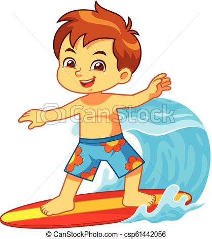 Boy Surfing With His Surfboard.