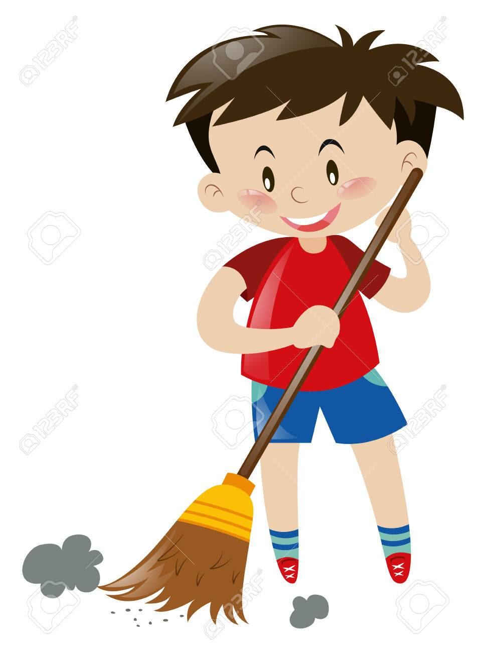 Boy sweeping floor with broom illustration.