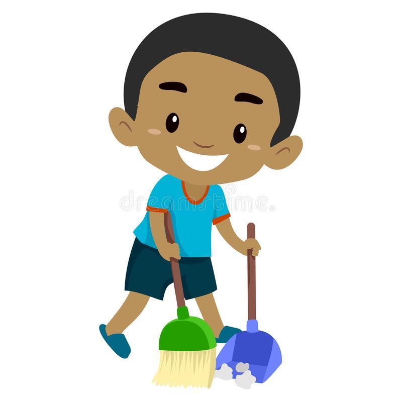 Kid Sweeping Stock Illustrations.